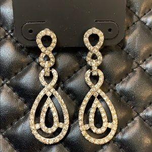 🆕RSVP Silver Crystal Diamond Knot Drop Earrings